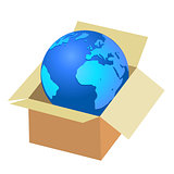 Earth in a box with a planet