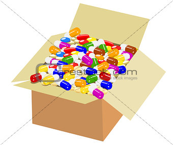 Full box of colorful medicine
