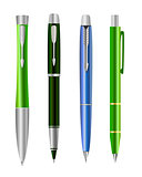 Vector illustration of set colorful pens