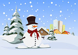 Snowman. Winter theme