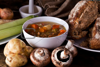 Home made soup and fresh vegetables