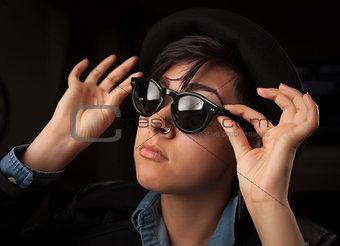 Ethnic Mixed Girl Wearing Sunglasses