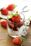 dairy dessert with chocolate sauce and strawberries