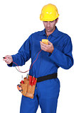 electrician with tester