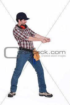Workman pulling something