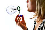 woman with soap lamp bulb bubble