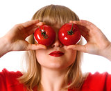lady in red with two tomato