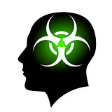 Human face with Biohazard sign