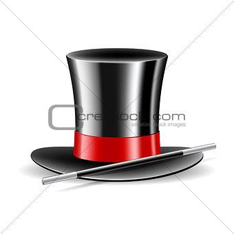 Magic hat and magic wand on white background.
