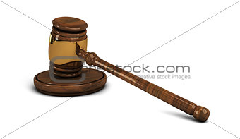 Wooden gavel, legal set on white
