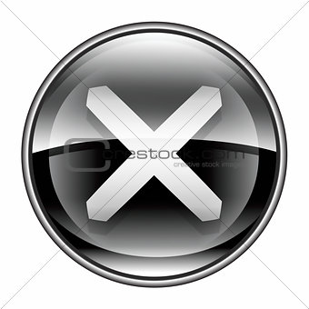 close icon black, isolated on white background.