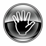 hand icon black, isolated on white background.