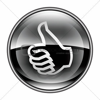 thumb up icon black, approval Hand Gesture, isolated on white ba