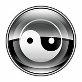 yin yang symbol icon black, isolated on white background.
