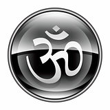 Om Symbol icon black, isolated on white background.