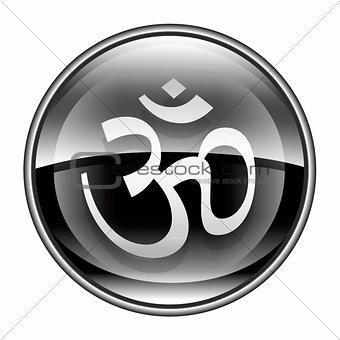 Om Symbol icon black, isolated on white background.