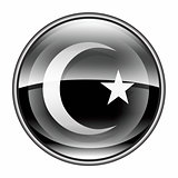 moon and star icon black, isolated on white background.