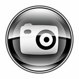 Camera icon black, isolated on white background