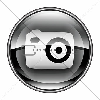 Camera icon black, isolated on white background