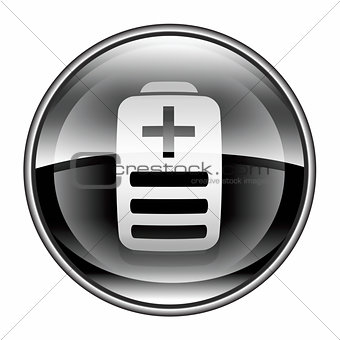 Battery icon black, isolated on white background