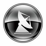 Antenna icon black, isolated on white background