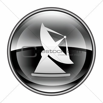 Antenna icon black, isolated on white background