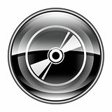 Compact Disc icon black, isolated on white background