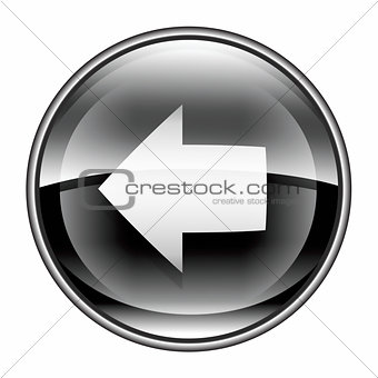 Arrow left icon black, isolated on white background.