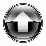 Upload icon black, isolated on white background.