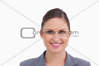 Close up of smiling tradeswoman