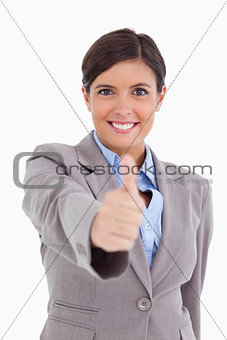 Close up of female entrepreneur giving thumb up