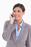 Close up of female entrepreneur on her cellphone