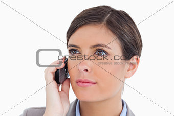 Close up of female entrepreneur with her cellphone