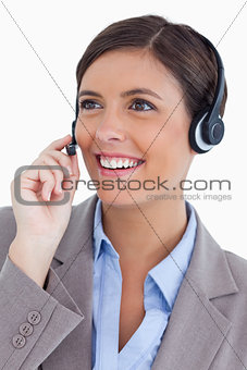 Close up of female call center agent with headset