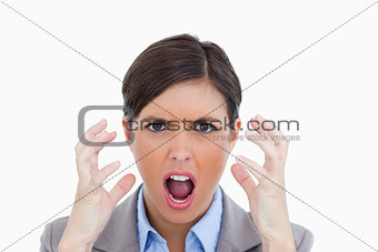 Close up of angry yelling entrepreneur