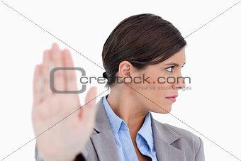 Close up of dismissive female entrepreneur