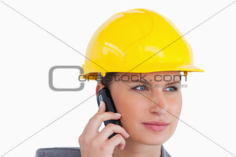 Close up of female architect on her cellphone