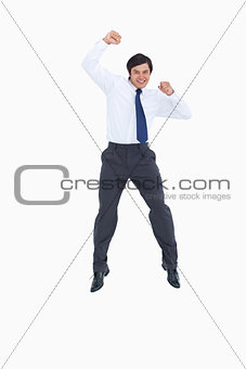 Celebrating tradesman jumping
