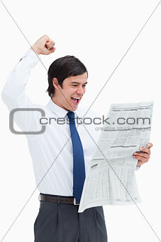 Celebrating tradesman having a look at the news