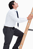 Side view of tradesman climbing a ladder