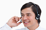 Close up of male call center agent in a conversation