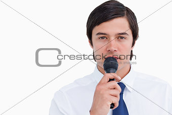 Close up of tradesman with microphone