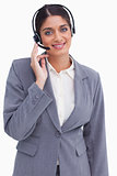 Smiling female call center employee