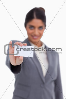 Blank business card being held by female entrepreneur