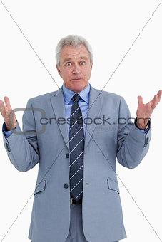 Clueless mature salesman
