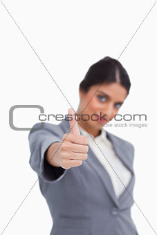 Thumb up given by female entrepreneur