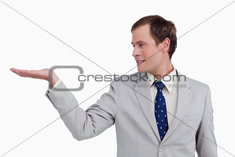 Close up of businessman looking at his palm