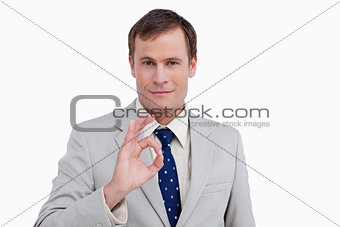 Close up of businessman giving his approval