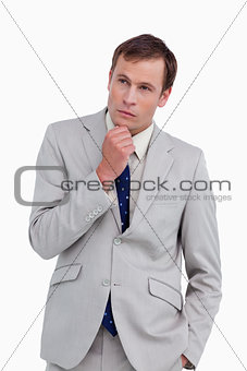 Close up of thinking businessman