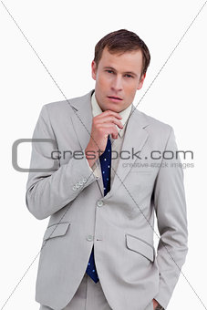 Close up of businessman in thoughts